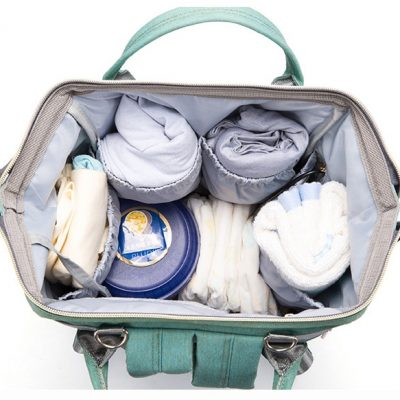 large diaper backpack with specious storage for baby needs.