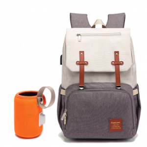 Bently Diaper Bag backpack with milk warmer in Beige and grey