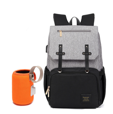 Bently Diaper Bag backpack with milk warmer in Black and grey