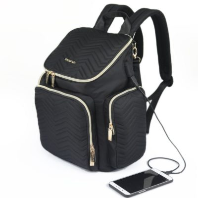 Paris Large quilted Nappy bag backpack with USB charging port