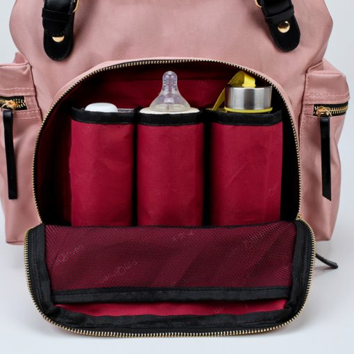 Kaylee Diaper bag backpack with three tin insulated bottle pockets