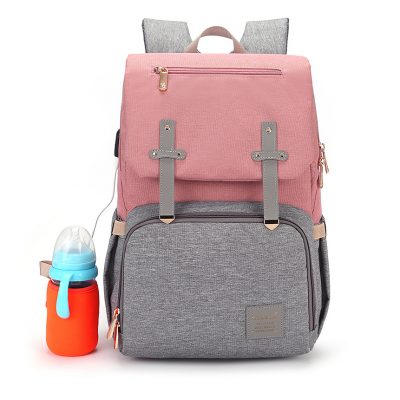Bently Diaper Bag backpack with milk warmer in pink and grey