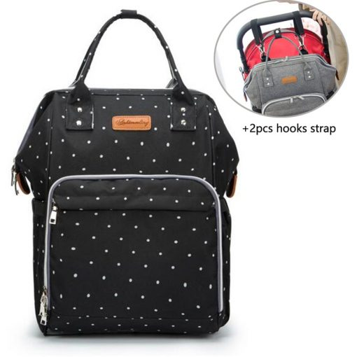 Baby Diaper Bag Backpack Black Dot