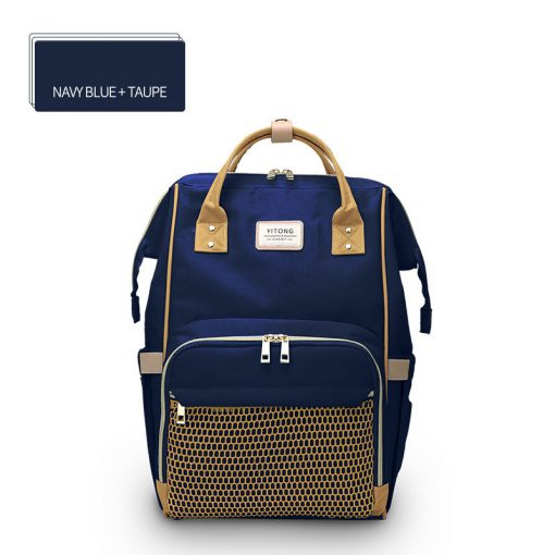 Macaron Diaper Bag Backpack Navy Blue/Taupe