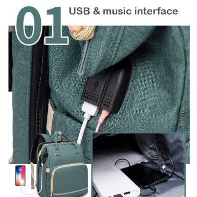 Avery Nappy Bag Backpack with USB port and audio jack connection