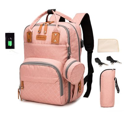Enzo Nappy/diaper bag backpack Pink