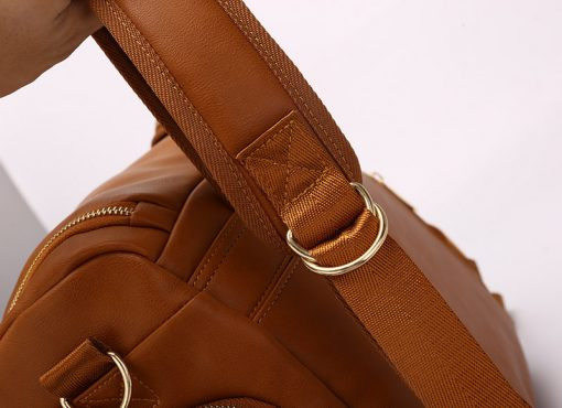 London vegan leather diaper bag backpack with adjestable strap