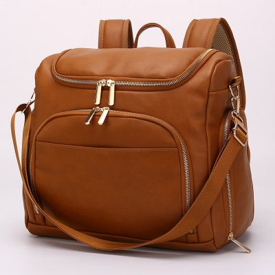 London vegan leather diaper bag backpack Tan