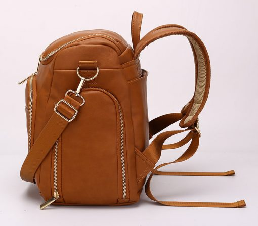 London vegan leather diaper bag backpack side view