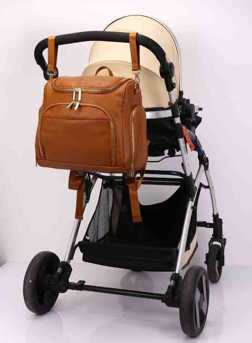 London vegan leather diaper bag backpack with stroller hooks